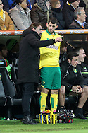 Norwich Head Coach Daniel Farke gives instructions to Nelson Oliveira of Norwich during the FA Cup match at Carrow Road, Norwich<br /> Picture by Paul Chesterton/Focus Images Ltd +44 7904 640267<br /> 06/01/2018
