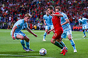 Portugal midfielder Bernardo Silva (10) under pressure from Netherlands Defender Daley Blind  (Ajax) Netherlands and Midfielder Frenkie de Jong (Ajax) during the UEFA Nations League match between Portugal and Netherlands at Estadio do Dragao, Porto, Portugal on 9 June 2019.