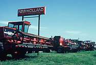 New Holland combines for sale in Great Bend Kansas in 1982<br /> <br /> Photo by Dennis Brack