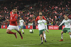 November 12, 2017 - Basel, 12.11.2017, Fussball WM Qualifikation Playoff, Schweiz - Nordirland,  Haris Seferovic (SUI) vor dem Tor. (Credit Image: © Daniel Christen/EQ Images via ZUMA Press)