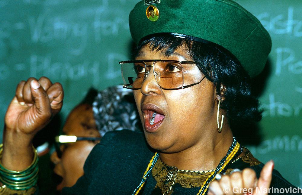 Winnie Mandela, at the PWV ANC Woman's League AGM, South Africa, 1992