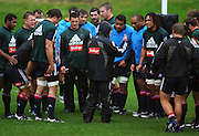 All Blacks coach Graham Henry talks to the team in the pouring rain.<br /> All Blacks Training Session at Rugby League Park, Newtown, Wellington. Tuesday 22 July 2008. Photo: Dave Lintott/PHOTOSPORT