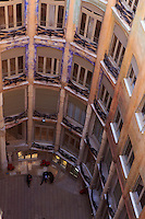 Looking down on the central courtyard of Casa Mila in Barcelona, Spain