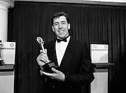 18/01/1989<br /> 01/18/1989<br /> 18 January 1989<br /> Texaco Sportstars of the Year Awards 1988 at the Burlington Hotel, Dublin. Picture shows Packie Bonner (Goalkeeper Ireland and Celtic) winner of the Soccer Texaco Sportstar Award with his trophy.