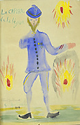 The Corporal of the Legion' (1916). Guillaume Apollinaire (Apollinaris Kostrowitsky 1880-1919) French poet Watercolour.