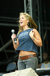 Heidi Range of The Sugarbabes on the main stage, on Sunday 13th July, 2003 at T in the Park..Pic ©2010 Michael Schofield. All Rights Reserved.