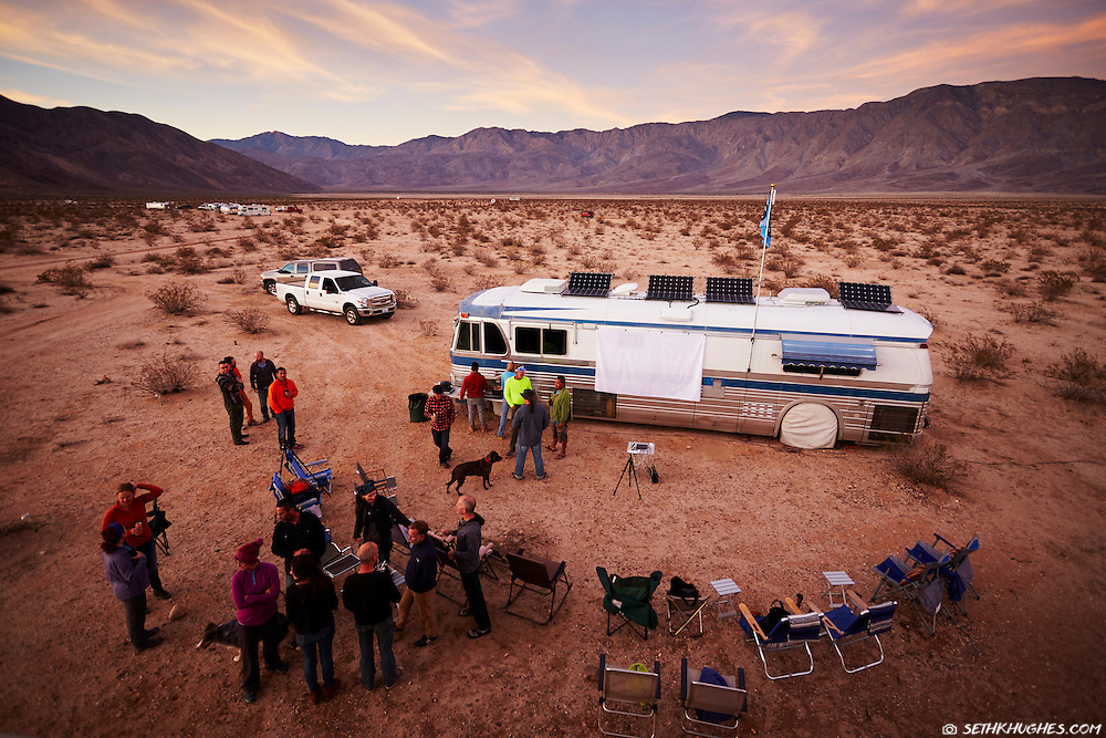 Full-time RV (recreational vehicle) dwellers meet up for a soup pot luck and an outdoor movie while camping off the grid in Anza Borrego State Park, California.