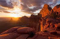 Dramatic sunset light from Green River Overlook in Canyonlands National Park, Utah