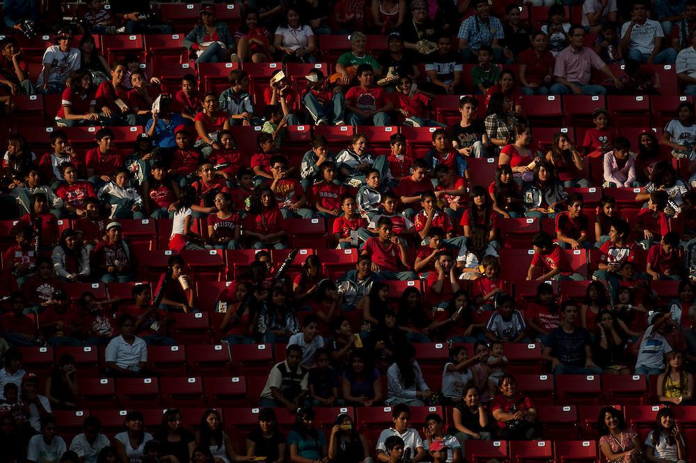 Oct. 19, 2011 - Guadalajara, Mexico - Fans at Omnilife Stadium in Guadalajara, Mexico, on the first day of mens soccer at the XVI Pan American Games. Brazil and Argentina tied 1:1..©Benjamin B Morris