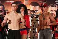 March 8, 2019; Verona, NY, USA; Israil Madrimov and Frank Rojas pose after weighing in for their bout at the Turning Stone Resort and Casino in Verona, NY.  Mandatory Credit: Ed Mulholland/Matchroom Boxing USA