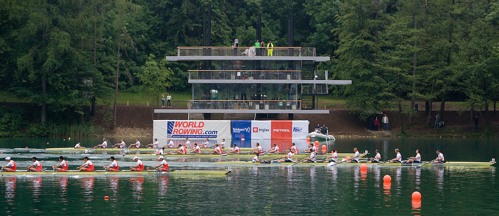 Men's Eight at the finish line during Final A at Rowing World Cup  on May 30, 2010, at Bled's lake in Zaka, Bled, Slovenia. (Photo by Vid Ponikvar / Sportida)