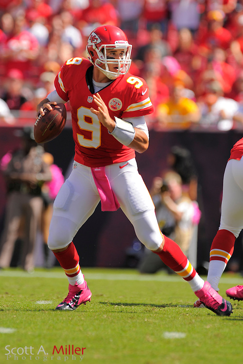Kansas City Chiefs quarterback Brady Quinn (9) during the Tampa Bay Buccaneers 38-10 win over the Chiefs at Raymond James Stadium  on Oct. 14, 2012 in Tampa, Florida. ..(AP Photo/Scott A. Miller)...