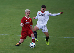 BIRKENHEAD, ENGLAND - Wednesday, September 13, 2017: Liverpool's Edvard Sandvik Tagseth in action against Sevilla during the UEFA Youth League Group E match between Liverpool and Sevilla at Prenton Park. (Pic by Paul Greenwood/Propaganda)