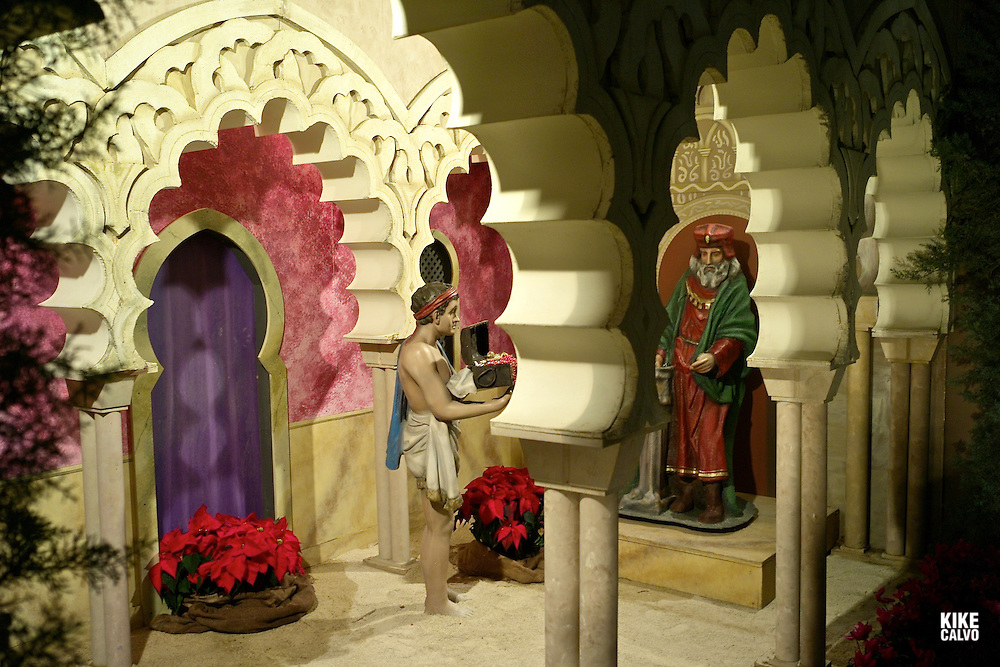 Christmas arrives at The Basilica-Cathedral of Our Lady of the Pillar in the city of Zaragoza, Each year during the Christmas season,  a nativity scene is recreated on the square, as well as in many churches, homes, shopping malls.