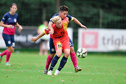 Manja Rogan of ZNK Pomurje vs. Mara Batea of Olimpia Cluj Napoca during the UEFA Women's Champions League Qualifying Match between ZNK Teleing Pomurje (SLO) and Olimpia Cluj (ROU) at Sportni Park on August 16, 2015 in Beltinci, Slovenia. Photo by Mario Horvat / Sportida