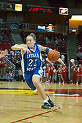 04 February 2006:  Melanie Boeglin pours on the gas nearing the hoop. The Indiana State Sycamores shook the Illinois State Redbirds from the nest with a 75-71 Victory.  There were 3,581 fans on hand, making the audience the  2nd largest women's basketball crowd ever in Redbird Arena on Illinois State University campus in Normal Illinois.