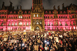 © Licensed to London News Pictures . 30/01/2017 . Manchester , UK . Thousands of people at a demonstration against America's Muslim travel ban , the UK's alignment with the Donald Trump administration and a possible State visit to the UK by Trump - outside Manchester Town Hall , in Albert Square , central Manchester . Photo credit : Joel Goodman/LNP