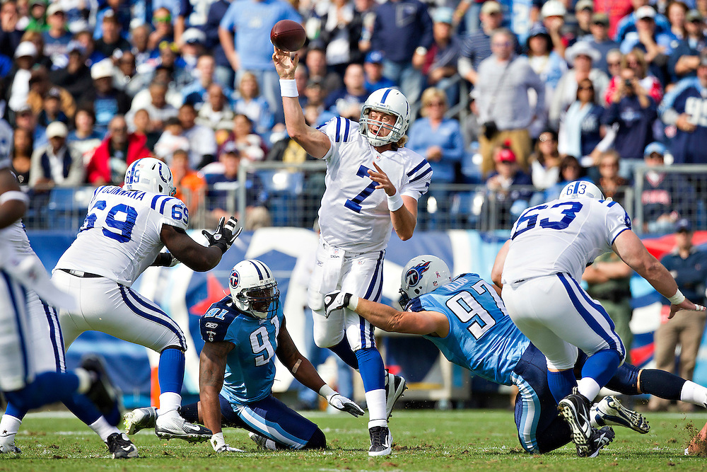 NASHVILLE, TN - OCTOBER 30:  Quarterback Curtis Painter #7 of the Indianapolis Colts throws a pass against the Tennessee Titans at the LP Field on October 30, 2011 in Nashville, Tennessee.  The Titans defeated the Colts 27 to 10.  (Photo by Wesley Hitt/Getty Images) *** Local Caption *** Curtis Painter