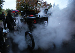 Dawn  in Hyde Park, London as Richard Austin prepares his 1900 Locomobile for the start of the London to Brighton Veteran Car Run Sunday 4th November 2012.   Photo by: Stephen Lock / i-Images