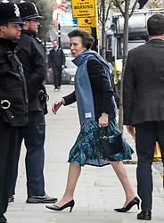 © Licensed to London News Pictures. 12/04/2018. London, UK. PRINCESS ANNE is seen arriving at King Edward VII Hospital to visit Prince Philip, The Duke of Edinburgh, following a hip operation. The Duke underwent an hour-long, planned operation at the private hospital in central London. Photo credit: Ben Cawthra/LNP