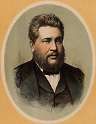 Charles Haddon Spurgeon (1834-1892) English popular Baptist preacher, born at Kelvedon, Essex. Called the Prince of Preachers, he drew audiences of over 10,000. By the time of his death, he had preached 36,000 sermons.  Colour-printed wood engraving.