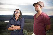 George, WA. - May 28th, 2012 Shabazz Palaces pose for a portrait backstage at the Sasquatch Music Festival in George, WA. United States