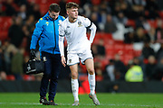 Leeds United Cole Gibbon (10) feels a knock during the FA Youth Cup match between U18 Manchester United and U18 Leeds United at Old Trafford, Manchester, England on 5 February 2020.
