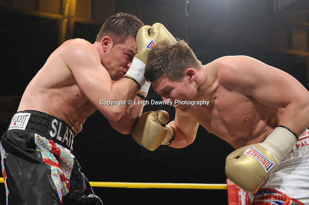Jack Morris (white shorts) defeats Billy Slate at Prizefighter The Light Heavyweights II, Olympia, London on 29th January 2011. Photo credit © Leigh Dawney.