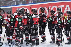 25.11.2014, Lanxess-Arena, Köln, GER, DEL, Koelner Haie vs Krefeld Pinguine, 25. Runde, im Bild Koelner Spieler bejubeln den Sieg gegen Krefeld // during Germans DEL Icehockey League 25th round match between Koelner Haie and Krefeld Pinguine at the Lanxess-Arena in Köln, Germany on 2014/11/25. EXPA Pictures © 2014, PhotoCredit: EXPA/ Eibner-Pressefoto/ Weiss<br /> <br /> *****ATTENTION - OUT of GER*****