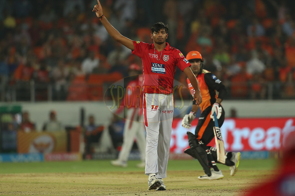 Ankit Singh Rajpoot of the Kings XI Punjab celebrates the wicket of Mohammad Nabi  of the Sunrisers Hyderabad during match twenty five of the Vivo Indian Premier League 2018 (IPL 2018) between the Sunrisers Hyderabad and the Kings XI Punjab  held at the Rajiv Gandhi International Cricket Stadium in Hyderabad on the 26th April 2018.<br /> <br /> Photo by: Ron Gaunt /SPORTZPICS for BCCI