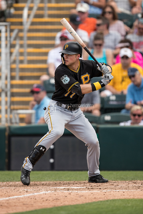FORT MYERS, FL- MARCH 01: Austin Meadows #77 of the Pittsburgh Pirates bats against the Minnesota Twins on March 1, 2017 at the CenturyLink Sports Complex in Fort Myers, Florida. (Photo by Brace Hemmelgarn) *** Local Caption *** Austin Meadows