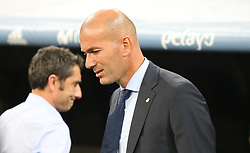 August 16, 2017 - Madrid, Spain - Zinedine Zidane. Real Madrid defeated Barcelona 2-0 in the second leg of the Spanish Supercup football match at the Santiago Bernabeu stadium in Madrid, on August 16, 2017. (Credit Image: © Antonio Pozo/VW Pics via ZUMA Wire)