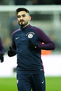 Ilkay Gundogan (#8) of Manchester City warms up ahead of the Premier League match between Newcastle United and Manchester City at St. James's Park, Newcastle, England on 27 December 2017. Photo by Craig Doyle.
