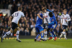 Tommy Carroll of Tottenham Hotspur under pressure - Mandatory byline: Jason Brown/JMP - 07966386802 - 10/01/2016 - FOOTBALL - White Hart Lane - London, England - Tottenham v Leicester City - The Emirates FA Cup