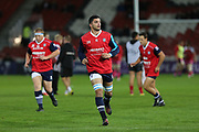 Agen replacement centre Pierre Fouyssac (20) warming up the European Rugby Challenge Cup match between Gloucester Rugby and SU Agen at the Kingsholm Stadium, Gloucester, United Kingdom on 19 October 2017. Photo by Gary Learmonth.