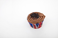 Union Jack chocolate cupcake against white background