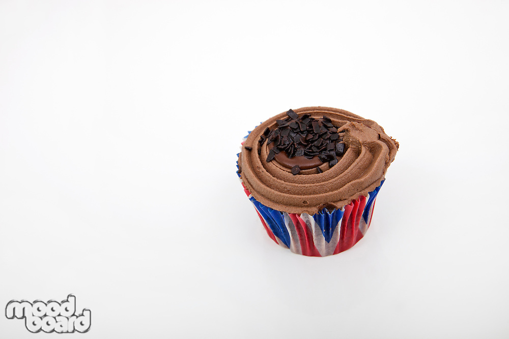 Union Jack chocolate cupcake against white background