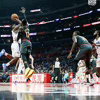 08 January 2018: Atlanta Hawks guard Dennis Schroder (17) defends on LA Clippers guard Jawun Evans (1) during the LA Clippers 108-107 victory over the Atlanta Hawks, at the Staples Center, Los Angeles, California, USA.