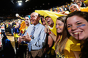 ANN ARBOR, MI - FEBRUARY 5: Michigan Wolverines fans ham it up with ESPN analyst Dick Vitale before the game against the Ohio State Buckeyes at Crisler Center in Ann Arbor, Michigan on February 5. Michigan won 76-74. (Photo by Joe Robbins)
