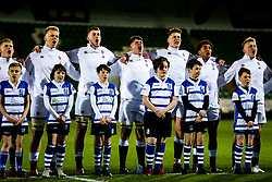 Josh Gray as England U20 line up for the national anthem - Rogan/JMP - 21/02/2020 - Franklin's Gardens - Northampton, England - England U20 v Ireland U20 - Under 20 Six Nations.