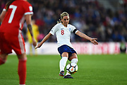 Jordan Nobbs (8) of England shoots at goal and hits the bar during the FIFA Women's World Cup UEFA Qualifier match between England Ladies and Wales Women at the St Mary's Stadium, Southampton, England on 6 April 2018. Picture by Graham Hunt.