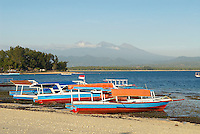 Indonesie. Lombok. Archipel des Gili. Île de Gili Air. Volcan Rinjani au fond. // Indonesia. Lombok. Gili archipelago. Gili Air Island. Volcano Rinjani at the back.