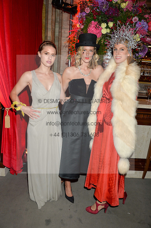 Left to right, ALESSANDRA BALAZS, OLIVIA HUNT and SUSANNA WARREN at the Tatler Magazine's Kings & Queens party held at Savini at Criterion, Piccadilly, London on 1st June 2016.