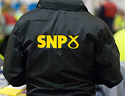 Scottish Parliament Election 2016 Royal Highland Centre Ingliston Edinburgh 05 May 2016; SNP activist during the Scottish Parliament Election 2016, Royal Highland Centre, Ingliston Edinburgh.<br /> <br /> (c) Chris McCluskie   Edinburgh Elite media