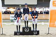 Podium Children 1. Anniek van Dulst, 2. Senna Evers, 3. Bente Feenstra<br /> KNHS Indoorkampioenschappen 2019<br /> © DigiShots