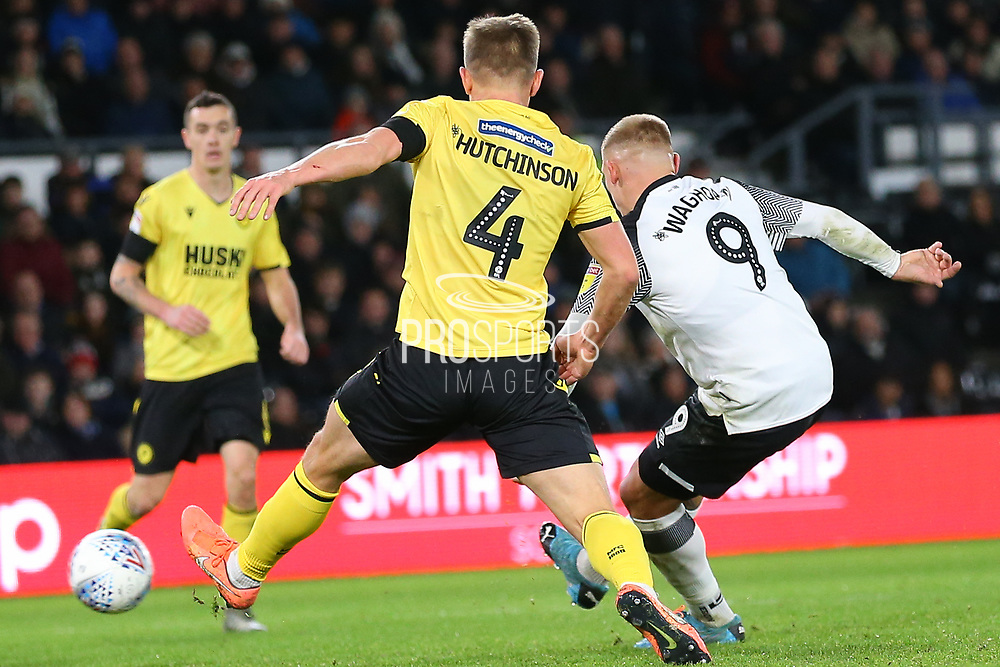 Derby County forward Martyn Waghorn (9) shoots at goal during the EFL Sky Bet Championship match between Derby County and Millwall at the Pride Park, Derby, England on 14 December 2019.