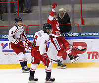 2019-10-23 | Ljungby, Sweden: Troja-Ljungby (22) Carl-Johan Sjögren scoring 5-2 during the game between IF Troja / Ljungby and Hanhals IF at Ljungby Arena ( Photo by: Fredrik Sten | Swe Press Photo )<br /> <br /> Keywords: Ljungby, Icehockey, HockeyEttan, Ljungby Arena, IF Troja / Ljungby, Hanhals IF, fsth191023, ATG HockeyEttan
