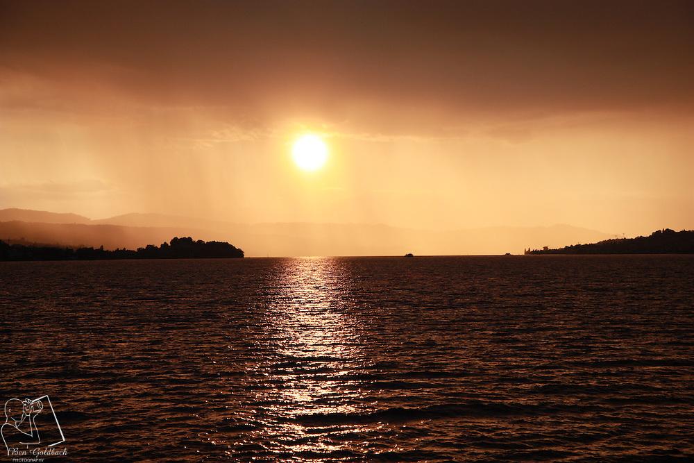 sunset over lake Zurich