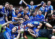 Bournemouth players celebrate winning the Sky Bet Championship trophy after the Sky Bet Championship match between Charlton Athletic and Bournemouth at The Valley, London, England on 2 May 2015. Photo by David Charbit.
