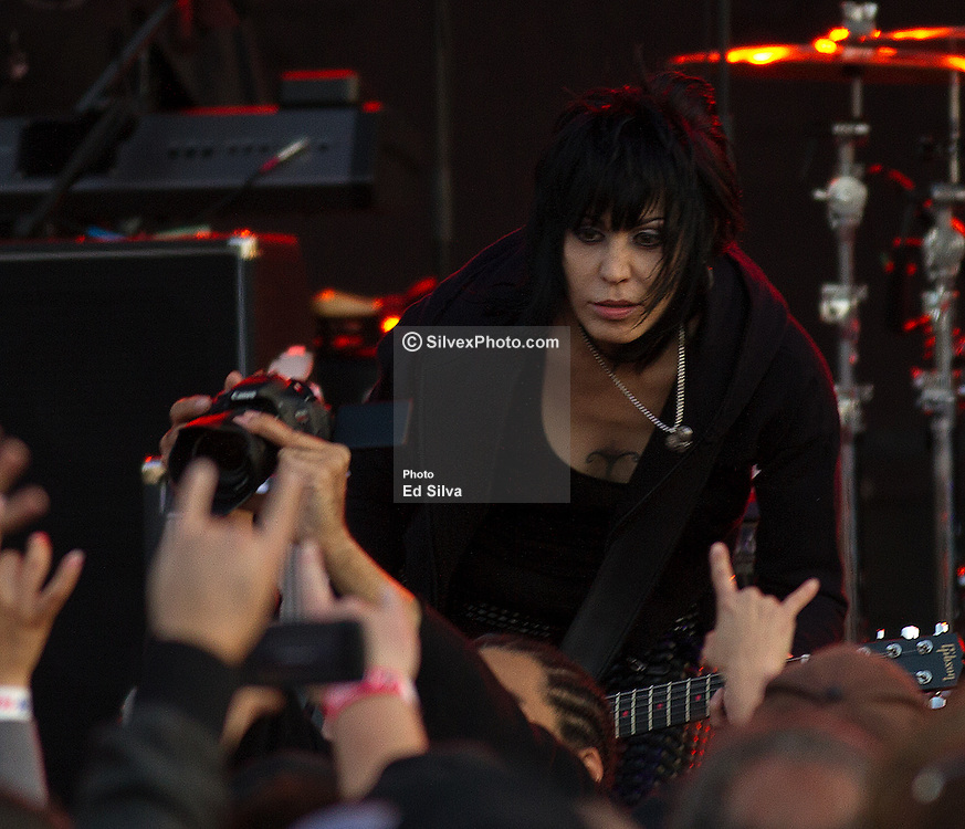 LONG BEACH, CA - APR 14: Joan Jett and the Blackhearts performed a solid set at the 2012 Toyota Grand Prix of Long Beach. All fees must be ageed prior to publication,.Byline and/or web usage link must  read PHOTO: Eduardo E. Silva/SILVEX.PHOTOSHELTER.COM